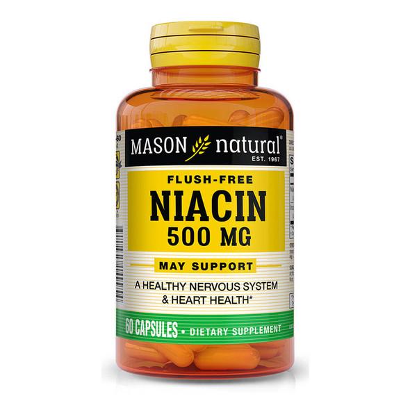 Mason Natural Flush-Free Niacin 500 mg - 60 Capsules