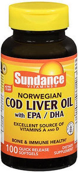 Sundance Norwegian Cod Liver Oil with EPA/DHA Quick Release - 100 Softgels