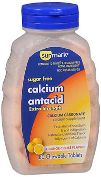 Sunmark Sugar Free Calcium Antacid, Extra Strength, Chewable Tablets, Orange Creme Flavor - 80 Tablets