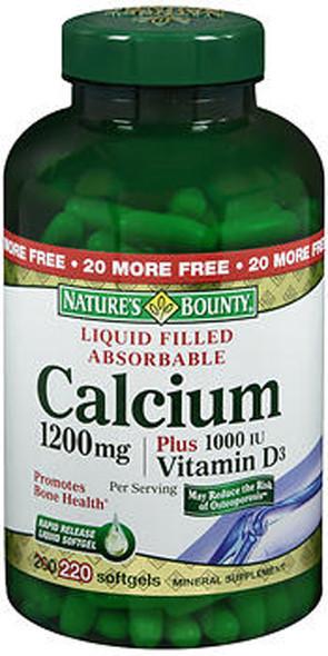 Nature's Bounty Calcium 1200 mg Plus Vitamin D3 Mineral Supplement Softgels - 220 ct