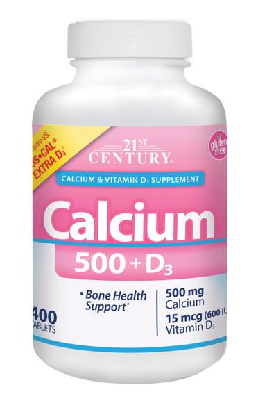 21st Century Calcium 500 + D3 Plus Extra - 400 Tablets