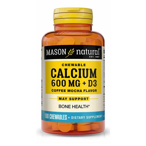 Mason Natural Calcium 600 mg + D3 Chewable Coffee Mocha Flavor - 100 Tablets