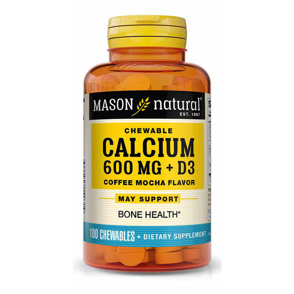 Mason Natural Calcium 600 mg + D3 Chewable Coffee Mocha Flavor - 100 Tablets