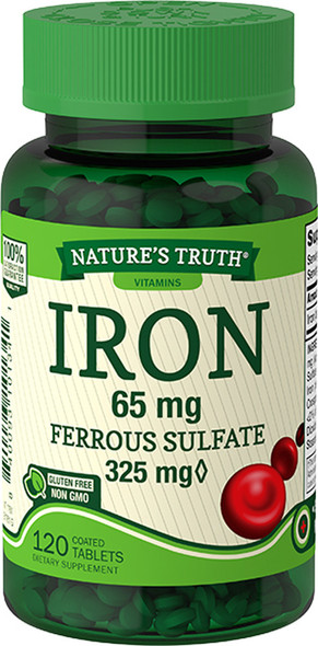Nature's Truth Iron 65 mg Ferrous Sulfate Coated Tablets - 120 ct