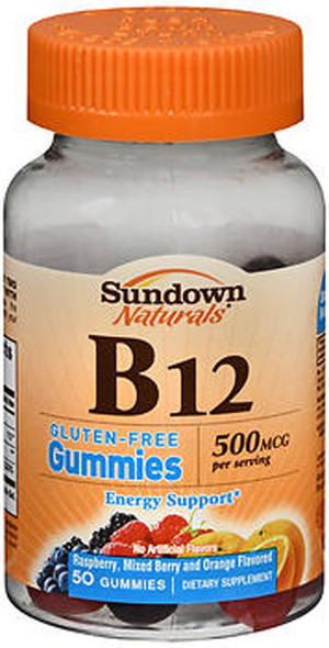 Sundown Naturals B12 500 mcg Dietary Supplement Gummies, Assorted Fruit - 50 ct