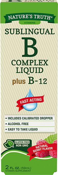 Nature's Truth Sublingual B Complex Liquid Plus B-12 Natural Berry Flavor Liquid - 2 oz