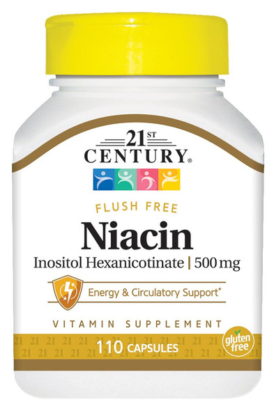 21st Century Niacin 500 mg Tablets Flush Free - 110 Tablets