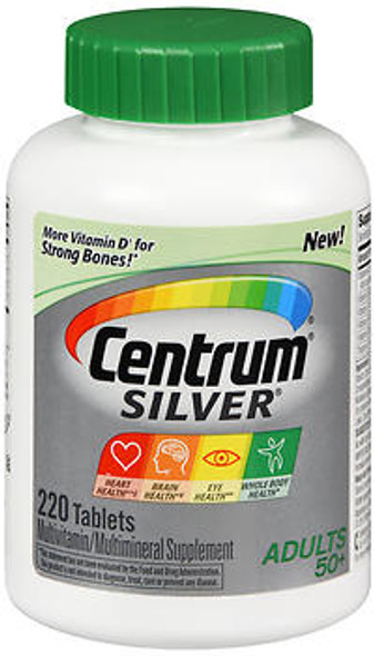 Centrum Silver Adults 50+ Multivitamin/Multimineral Supplement Tablets - 220 Tablets