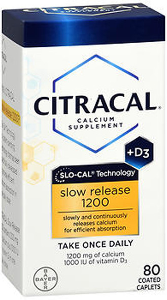 Citracal Calcium Slow Release 1200 + D3 Supplement Coated Caplets - 80 ct