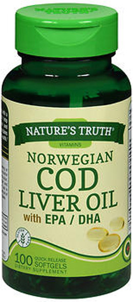 Nature's Truth Norwegian Cod Liver Oil Dietary Supplement - 100 Softgels