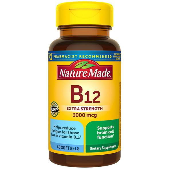 Nature Made B-12 Vitamin 3000 mcg - 60 Liquid Softgels