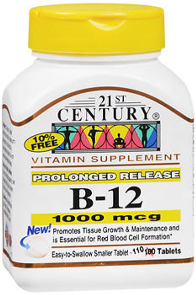 21st Century B-12, 1000 mcg Prolonged Release Tablets - 110 Tablets