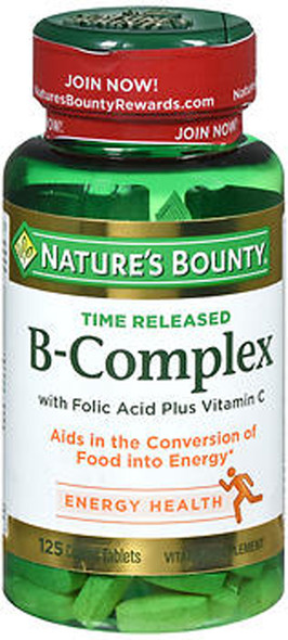 Nature's Bounty Time Released B-Complex with Folic Acid plus Vitamin C - 125 Tablets