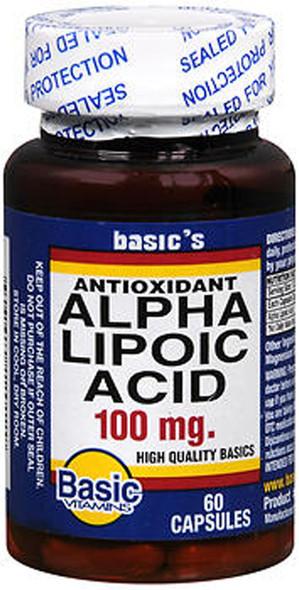 Basic Vitamins Alpha Lipoic Acid 100 mg Capsules - 60 ct