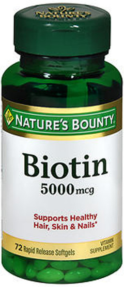 Nature's Bounty Biotin 5000 mcg - 72 Softgels