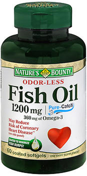 Nature's Bounty Odorless Fish Oil 1200 mg - 60 Coated Softgels