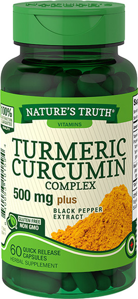 Nature's Truth Turmeric Curcumin Complex 500 mg plus Black Pepper Extract Quick Release Capsules - 60 ct