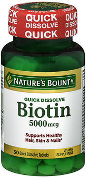 Nature's Bounty Biotin 5000 mcg Vitamin Supplement Quick Dissolve Natural Strawberry Flavor - 60 Tablets