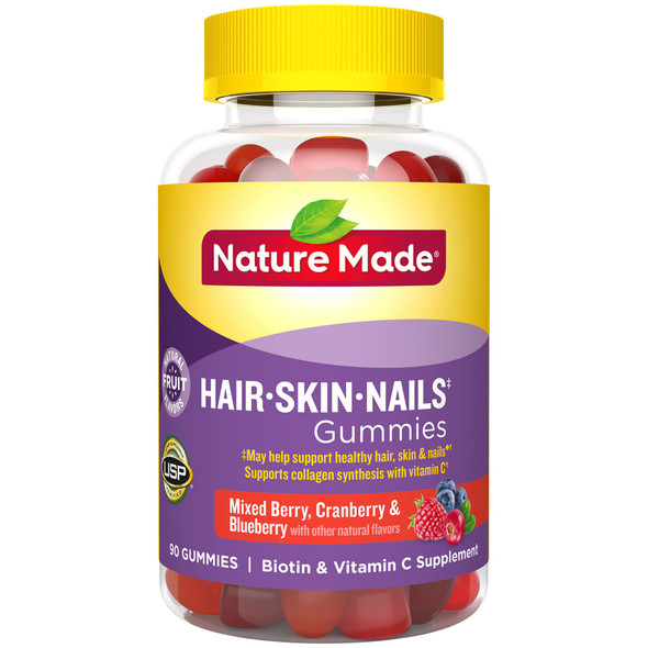 Nature Made Hair, Skin, Nails Adult Gummies Mixed Berry, Cranberry & Blueberry - 90 Gummies