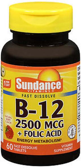 Sundance B-12 2500 mcg + Folic Acid Fast Dissolve - 60 Tablets