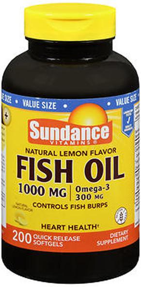 Sundance Vitamins Fish Oil 1000 mg /Omega-3 300 mg Natural Lemon Flavor - 200 Softgels