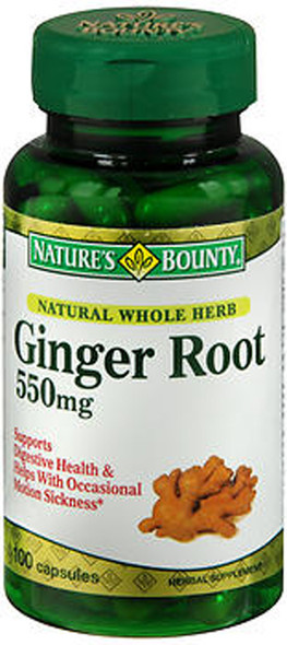 Nature's Bounty Ginger Root 550 mg Herbal Supplement -100 Capsules