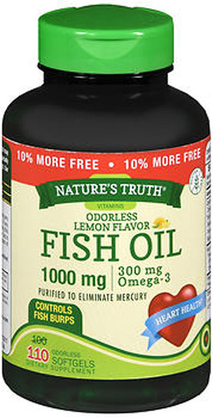 Nature's Truth Vitamins Odorless Fish Oil 1000 mg Lemon Flavor - 110 Softgels