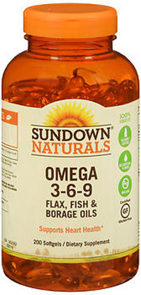 Sundown Naturals Omega 3-6-9 Flax, Fish & Borage Oils Softgels - 200 ct