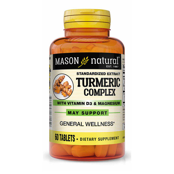 Mason Natural Turmeric Complex With Vitamin D3 & Magnesium Tablets- 60 Tablets