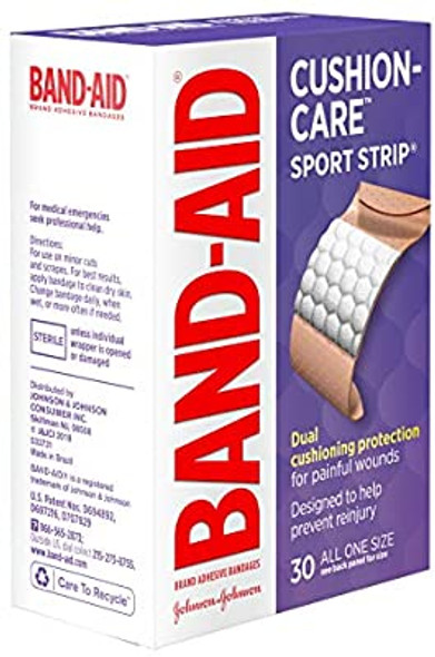 Band-Aid Cushion Care Sport Strip  Adhesive Bandages All One Size - 30 ct