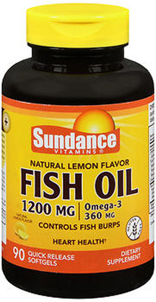 Sundance Vitamins Fish Oil 1200 mg /Omega-3 360 mg Natural Lemon Flavor - 90 Softgels
