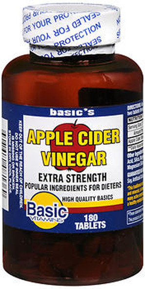 Basic Vitamins Apple Cider Vinegar Tablets Extra Strength - 180 ct