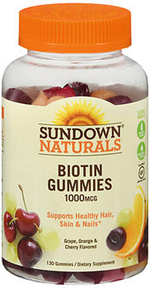 Sundown Naturals Biotin 1000 mcg Gummies Grape, Orange and Cherry Flavored - 130 ct