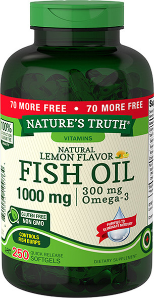 Nature's Truth Natural Lemon Flavor Fish Oil 1000 mg Quick Release Softgels - 250 Softgels