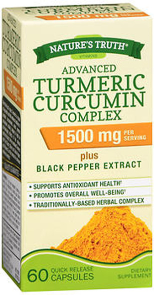 Nature's Truth Advanced Turmeric Curcumin Complex 1500 mg per Serving - 60 Capsules