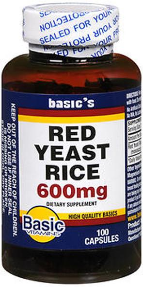 Basic Vitamins Red Yeast Rice 600 mg - 100 ct