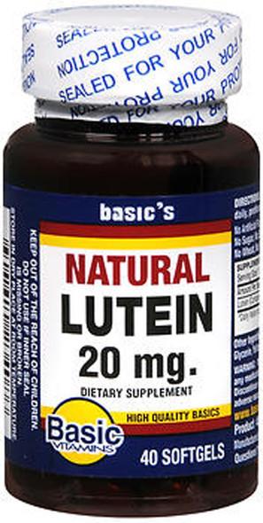 Basic Vitamins Natural Lutein 20 mg - 40 ct