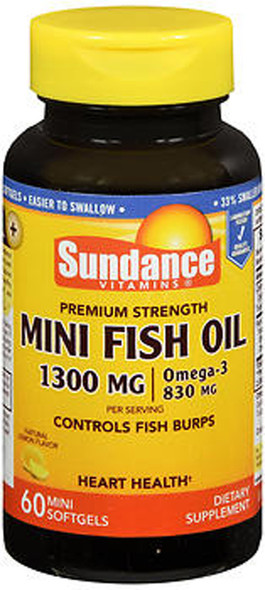 Sundance Vitamins Fish Oil 1300 mg Natural Lemon Flavor - 60 Mini Softgels