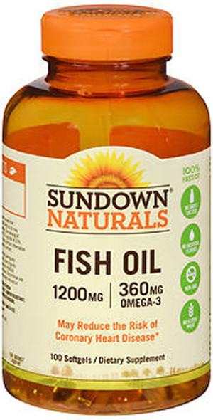Sundown Naturals Extra Strength Fish Oil 1200 mg Softgels Omega 3 - 100 ct