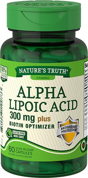 Nature's Truth Alpha Lipoic Acid 300 mg Plus Biotin Optimizer Quick Release Capsules - 60 ct