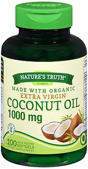 Nature's Truth Vitamins Coconut Oil 1000 mg - 100 Quick Release Softgels