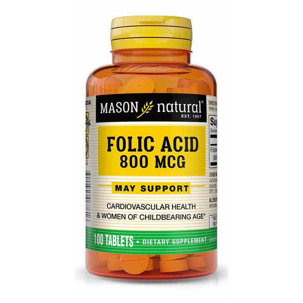 Mason Natural Folic Acid 800 mcg - 100 Tablets