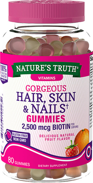 Nature's Truth Hair, Skin & Nails Gummies 2500 mcg Biotin Fruit Flavor - 80 ct