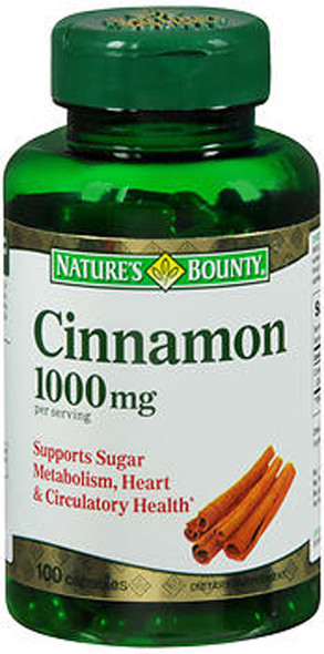 Nature's Bounty Cinnamon 1000 mg  - 100 Capsules