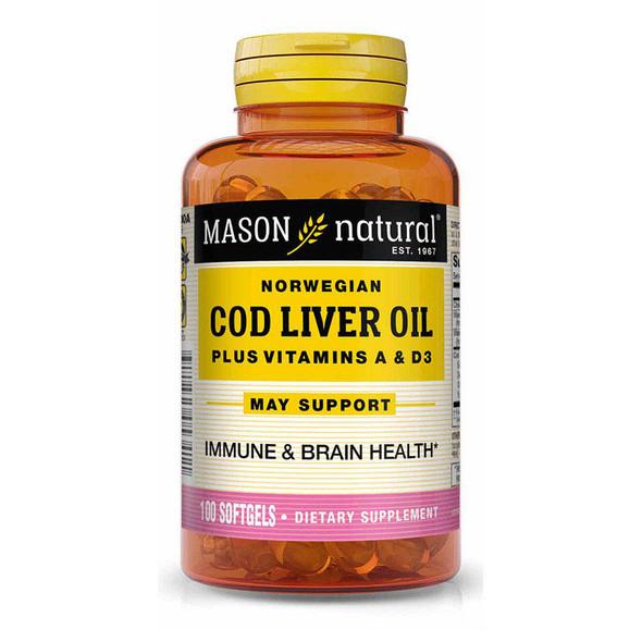 Mason Natural Omega-3 Cod Liver Oil Softgels - 100 ct