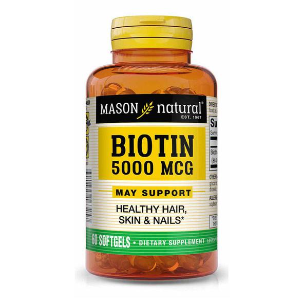 Mason Natural Super Biotin 5000 mcg - 60 Softgels