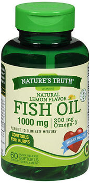 Nature's Truth Fish Oil 1000 mg Dietary Supplement - 60 Softgels