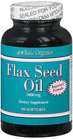 Basic Organics Flax Seed Oil Softgels - 90 ct