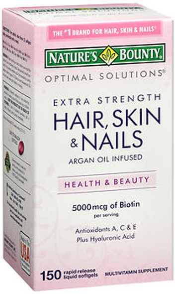 Nature's Bounty Optimal Solutions Extra Strength Hair, Skin & Nails Rapid Release - 150 Liquid Softgels