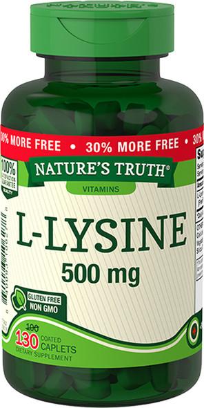 Nature's Truth Vitamins L-Lysine 500 mg - 130 Coated Caplets
